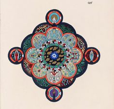 C.G. Jung (1875-1961); Page 105 from the Red Book; 1914-1930; Pigments on paper; During the period in which he worked on this book Jung developed his principal theories of archetypes, collective unconscious, and the process of individuation. It is possibly the most influential unpublished work in the history of psychology. More than two-thirds of the large, red, leather-bound manuscript's pages are filled with Jung's brightly hued and striking graphic forms paired with his thoughts ...