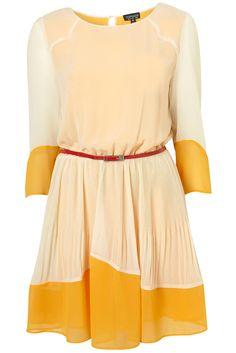 CREAM COLOUR BLOCK PLEATED DRESS