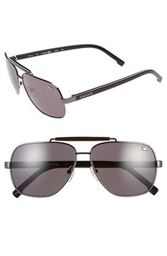Men's Lacoste 59mm Aviator Sunglasses - Gunmetal/ Grey