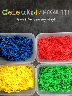 Coloured Spaghetti - perfect activity for your kids to get their hands dirty. And it won't matter if they eat it - because it's cooked! Baby Sensory Play, Baby Play, Toddler Play, Toddler Crafts, Infant Activities, Activities For Kids, Messy Play, Color Activities, Colors