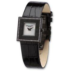 Ladies Charles Hubert Black Leather Black-plated Stainless Crystal Bezel Wa