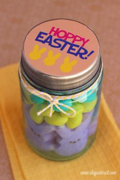 Hoppy Easter Treat Jar Gift with Free Printable Tags