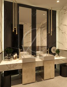 Calacatta marble clad walls and floating vanity, white cement floor and sleek re. Washroom Design, Vanity Design, Bathroom Design Luxury, Modern Bathroom Design, Home Room Design, Home Interior Design, House Design, Toilette Design, Washbasin Design