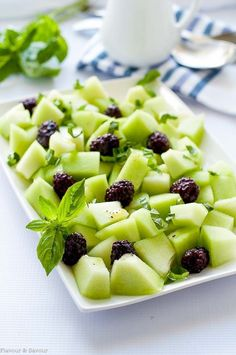 Blackberry Honeydew Salad with Basil. Tips for choosing a ripe honeydew melon. Sweet honeydew, tart blackberries and pungent basil combine to make this fresh Blackberry Honeydew Salad with Basil as appetizing to look at as it is to eat. Melon Recipes, Basil Recipes, Fruit Salad Recipes, Fruit Salads, Honeydew Recipes, Jello Salads, Summertime Salads, Summer Salads, Summer Fruit
