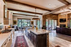 Rustic open floor plan. Kitchen and living room with old world charm