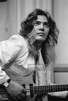 American guitarist Tommy Bolin (1951-1976) from English rock group Deep Purple posed with guitar on tour in Japan in December 1975.