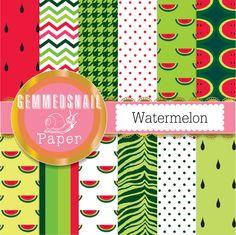 Watermelon digital paper, juicy watermelon backgrounds in 12 patterns