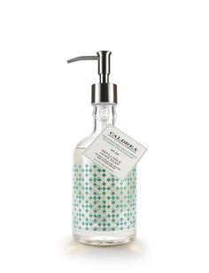 PALMAROSA WILD MINT GLASS HAND SOAP With Caldrea Palmarosa Wild Mint Hand Soap in an elegant refillable glass bottle,, hands are soft, clean and fragrant as the bottle brightens kitchen or bath. Aloe Vera Gel, Olive Oil and essential oils cleanse and condition.    Value ~ $18.00