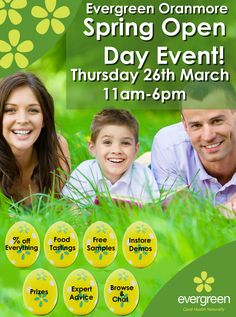 Come along to our spring open day this Thursday (March 26th) in our Oranmore store  Various industry experts will be in attendance at various times throughout the day. Some of these include  Nua Naturals, Wild Irish Sea Veg, Eskimo 3, Trilogy, Revive Active, Kinvara Skincare & Solgar. This is your great chance to get information & advice from industry representatives on your health concerns and beauty queries.
