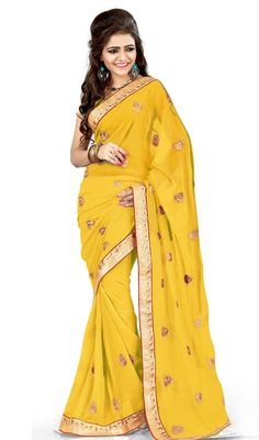Everyone will admire you when you wear this yellow color embroidered georgette sari. Beautified with lace and resham work. Upon request we can make round front/back neck and short 6 inches sleeves regular saree blouse also. #ShineYellowChiffonBasedSari