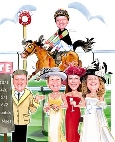 Caricature portrait for the racing ladies
