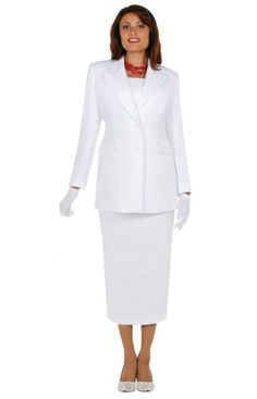Ben Marc 2299 Womens Group Church Usher Suit- Women's 2 piece crepe church usher suit features 31 inch jacket and 34 inch skirt.