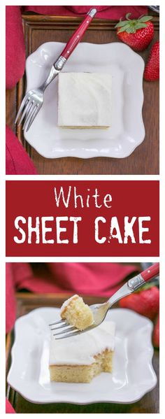 White Sheet Cake   Moist, tender with a touch of almond extract. Perfect when you need to serve a crowd! #SundaySupper @lizzydo