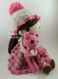 May and her piglet-Amigurumi Doll Crochet Pattern by CarmenRent