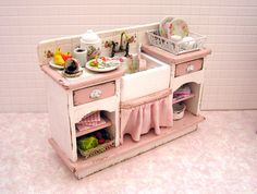 Dollhouse miniature filled Sink Unit in shabby pink and white