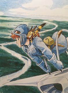 """Illustrations done for the Nausicaa manga ===== Manga began running in monthly 'Animage' in Feb. 1982, collected in order of appearance ===== Notes: I remember muttering to myself, """"Another cover?"""" as I drew this for a series of 4 film comics [laughs]. The more I don't want to do something, the less I get done, so I forced myself to do all 4 at once. I remember how calm Kodasha's editor was despite my grumbling."""