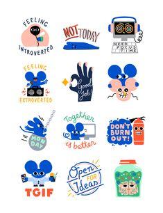 Digital sticker set for Australian software company Atlassian. The stickers are used on Slack. Web Design, Logo Design, Graphic Design, Emoji Design, Spot Illustration, Posca Art, Zine, Cute Stickers, Character Design