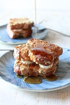 Peanut Butter, Banana and Honey Stuffed Almond Crusted French Toast