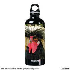 Bad Hair Chicken Photo Aluminum Water Bottle