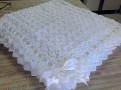 FREE SHIPPING Crochet Baby Cream Puff Blanket Crib Baptism