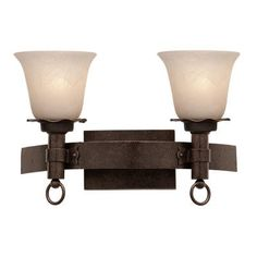 Kalco Americana 2 Light Vanity Light Finish: Copper Claret, Shade Type: Super Neutral Swirl - 1417