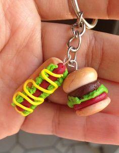 Handmade hamburger and hot dog clay charm on a keychain. Keychain included.