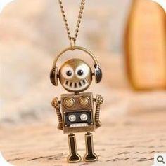 Cute Retro Robot Necklace