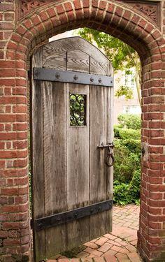 Backyard Gates, Garden Gates And Fencing, Garden Doors, Backyard Landscaping, Secret Garden Door, Wooden Garden Gate, Wooden Gates, Cool Doors, Unique Doors