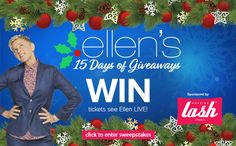 """Enter to WIN 2 tickets to see a LIVE """"15 Days of Giveaways"""" ELLEN taping on December 7th!"""