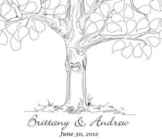 Guestbook tree by FancyPrints on Etsy (I really like the tree carving! Tree Sketches, Guest Book Tree, Leaf Drawing, Tree Carving, Wedding Guest Book Alternatives, Hand Sketch, School Themes, Tree Wedding, Guestbook