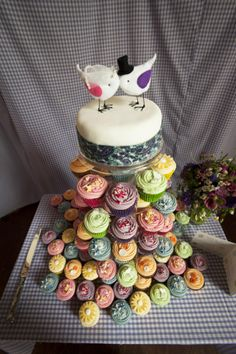 Colourful wedding cupcake tower!