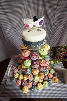 Colourful wedding cupcake tower!