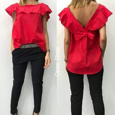 White Shirts Women, Blouses For Women, Mom Outfits, Casual Outfits, Frill Tops, Mode Chic, Pinterest Photos, Dressy Tops, Blouse Online