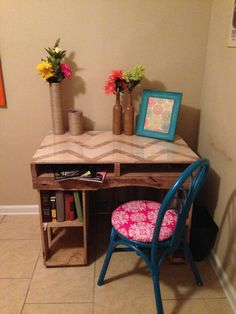 Chevron Pallet Desk- love this one but I want it bar stool height