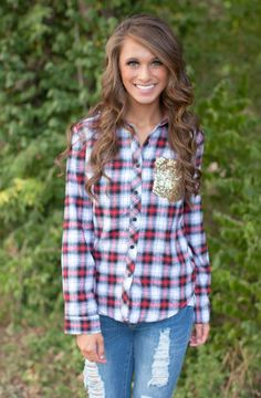 The Pink Lily Boutique - Southern Sass Plaid Sequin Blouse , $39.00 (http://thepinklilyboutique.com/southern-sass-plaid-sequin-blouse/)
