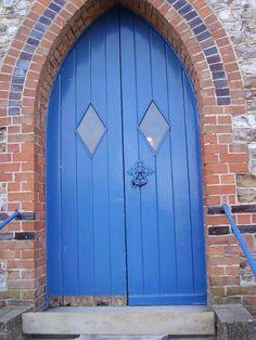 blue church doors