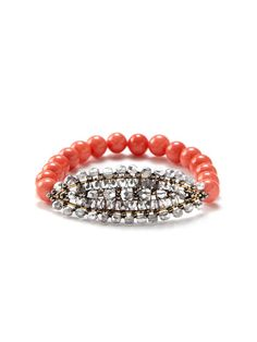 Miguel Ases Pink Shell Station Stretch Bracelet