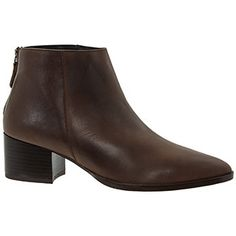 Brown Leather Block Heel Ankle Boots