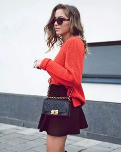 Coral sweater & skirt