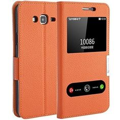 Samsung Galaxy J7 Cell Phone Case Accessories Flip Window View Leather Orange  #MakeMate