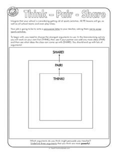 Printables Think Pair Share Worksheet 4th grade writing point of view and the teacher on pinterest select from a large range generated static or user created worksheets also create your own persuasive texts think pair