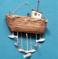 Wood fishermans boat with hanging tin fish Wall hanging Art Plaque Nautical Home | eBay