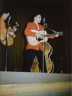 Scotty, Elvis and Bill at the Circle Theatre - Oct 19, 1955 Photo by Tommy Edwards courtesy Chris Kennedy's 1950s in Color