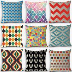 "Hot sale home deco pillows geometric Print Home Decorative Cushion Throw Pillow 18"" Vintage Cotton Linen Square Pillows MYJ-C2"