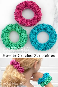 How to Crochet Scrunchies by Donna Wolfe from Naztazia A hair scrunchie is pretty easy to make with yarn, a crochet hook, and a hair elastic. This crochet pattern is one I used to create scrunchies back in the Crochet Crafts, Easy Crochet, Crochet Hooks, Crochet Baby, Free Crochet, Knit Crochet, How To Crochet, Crochet Ideas To Sell, Crochet Hairband