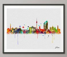 Berlin skyline, Berlin art, Berlin print, Berlin painting,Berlin watercolor, watercolor Berlin ,city watercolor print,city watercolor A094-B