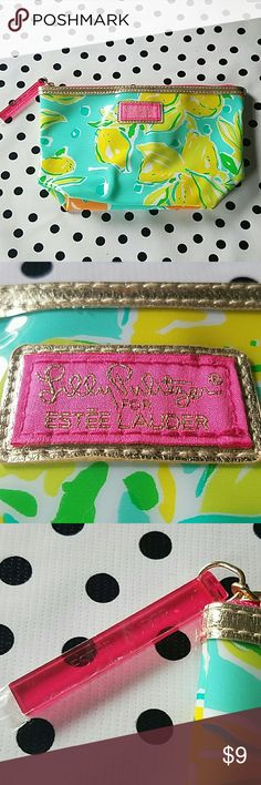 Lilly Pulitzer for Estee Lauder cosmetic bag New! Lilly Pulitzer for Estee Lauder cosmetic bag. Still has protective plastic on zipper pull.  No flaws. Approx 10x5. Lemon print. Lilly Pulitzer Bags Cosmetic Bags & Cases