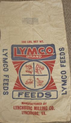 Feed sack. Feed Bags, Grain Sack, Vintage Textiles, Cotton Bag, Vintage Advertisements, Paper Shopping Bag, Sacks, Label, Advertising