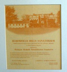 Brighton Center For Recovery predecessor institution, the Bloomfield ...