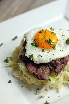 cabbage steak and eggs   This actually looks pretty darn good.